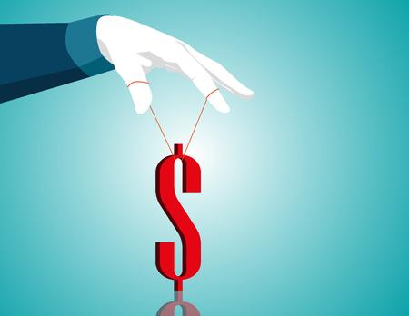 Businessman hand controlling dollar. Concept business illustration. Vector flat
