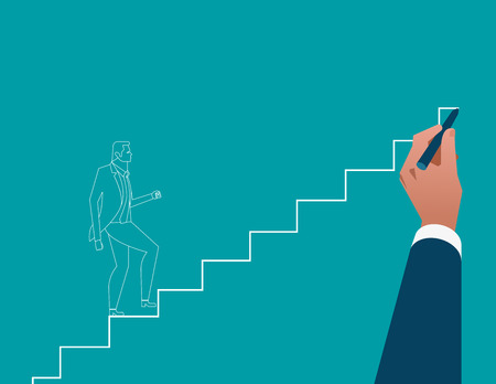 Businessman hand drawing career ladder. Concept business illustration. Vector flat Illustration