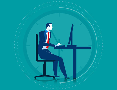 overtime: Businessman working overtime on the computer. Concept business illustration. Vector flat