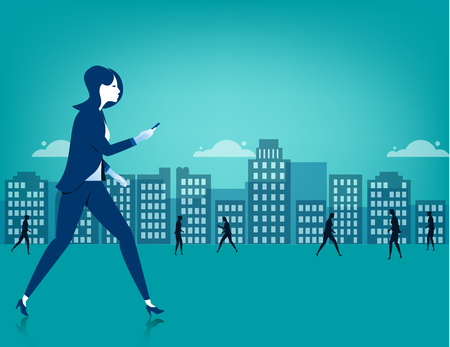 business phone: Businesswoman walking on city using a smart phone. Concept business illustration. Vector flat