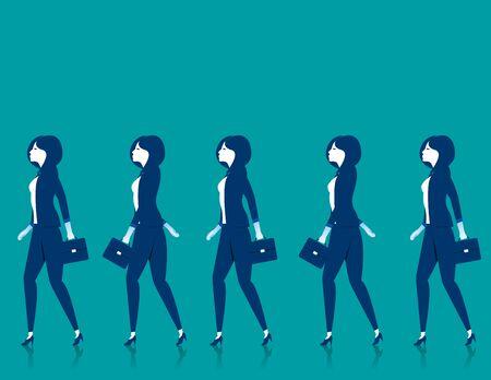 Teamwork. Businesswomen walk. Concept business illustration. Vector flat Illustration