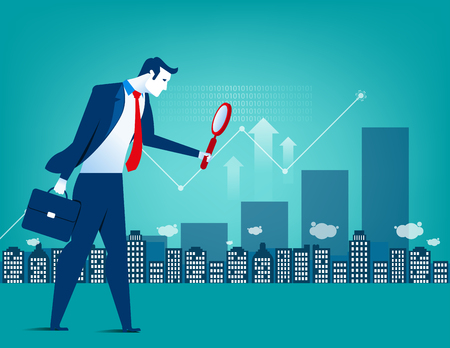 Leader businessman looking for inverstment opportunity. holding large magnifying glass. Concept business illustration. Vector flat Vectores