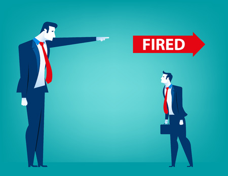 Manager pointing fired at businessman. Losing a job. Unemployed people. Concept business illustration. Vector flat Illustration