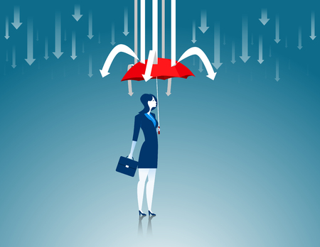 prevent: Protection. Business women red umbrella the prevent arrows. Concept business illustration. Vector flat
