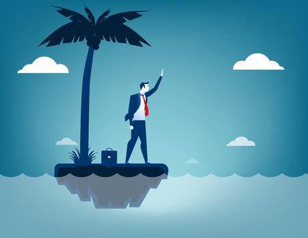 castaway: Businessman castaway. Concept business illustration. Vector flat