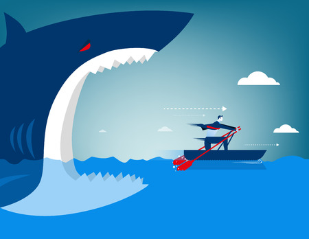 dead fish: Businessman escape on the shark. Concept business illustration Illustration