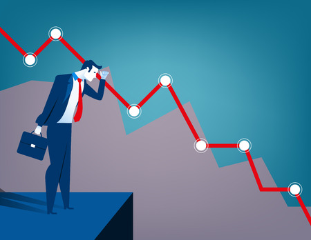 Businessman looking at falling diagram. Economic and financial crisis. Concept business illustration. Vector flat
