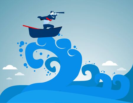 Surfing. Businessman looking success amid the waves. Concept business illustration. Vector flat Ilustração
