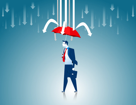 prevent: Protection. Businessman red umbrella the prevent arrows. Concept business illustration. Vector flat Illustration