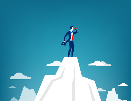 Hombre de negocios que se coloca encima de la montaña usando el telescopio que busca éxito. Ilustración de negocios concepto. Vector plano Ilustración de vector
