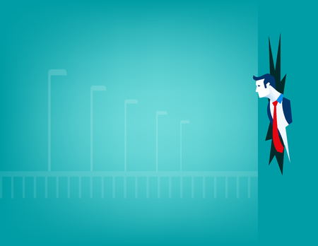 Businessman breaking through wall. Concept business illustration. Vector flat
