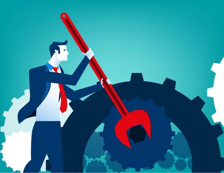 Businessman with wrench and cogs. Concept business illustration. Vector flat