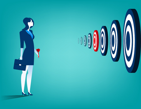 multiple targets: Businesswoman and multiple targets. Concept business illustration. Vector flat Illustration