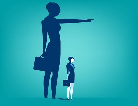him: Businesswoman shadow pointing with him. Concept business illustration. Vector flat