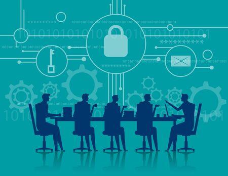 사이버 보안. 비즈니스 회의 보안. 개념 비즈니스 그림입니다. 벡터 플랫