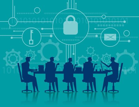 Cybersecurity. Business meeting security. Concept business illustration. Vector flat
