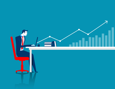Businessman working at computer with arrow and chart. Concept business illustration. Vector flat