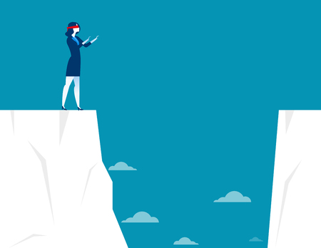 cliff edge: Businesswoman blindfolded and walk to the cliff. Concept business illustration. Vector flat