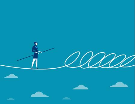 줄 타기 및 장벽을 산책하는 사업가. 개념 비즈니스 그림입니다. 벡터 플랫