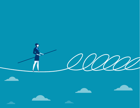 Businesswoman walking a tightrope and barrier. Concept business illustration. Vector flat