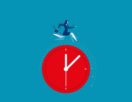 clack: Businesswoman running on clock representing deadline. Concept business illustration Illustration