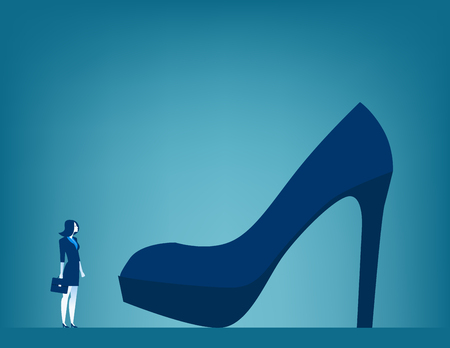 Huge responsibilities. Businesswoman with large shoe. Concept business illustration Illustration