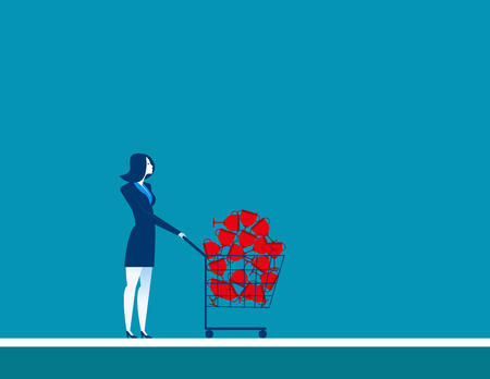 conquering adversity: Businesswomen shopping trolley with trophy. Concept business illustration. Vector flat