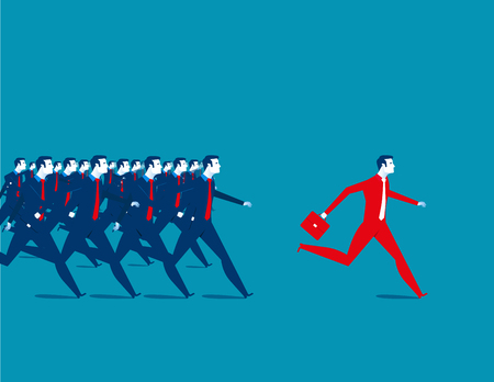 Business people running. Concept business illustration. Vector flat