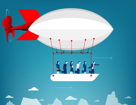 Business team flying in the sky on hot air balloon. Looking over mountain peaks. Concept business illustration. Vector flat Illustration