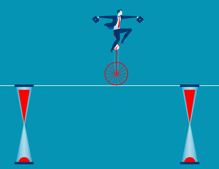 catoon: Businessman cycling on rope. Concept business illustration. Vector flat