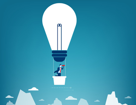 looking through an object: Businessman flying in the sky on hot air balloon. Looking over mountain peaks. Concept business illustration. Vector flat