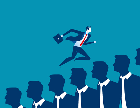 conformity: Businessman running over other business people. Concept business illustration. Vector flat Illustration