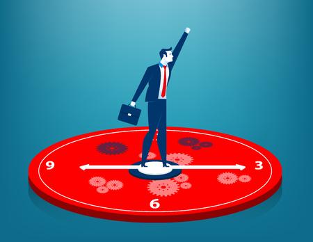Businessman standing on clock. Concept business illustration. Vector flat Illustration
