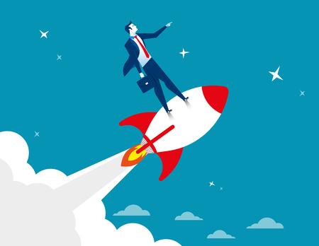 Start up. Businessman standing on rocket ship flying through starry sky. Concept business illustration. Vector flat