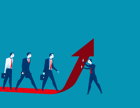 Businessman team moves up on the red arrow. Concept business illustration. Vector flat Illustration
