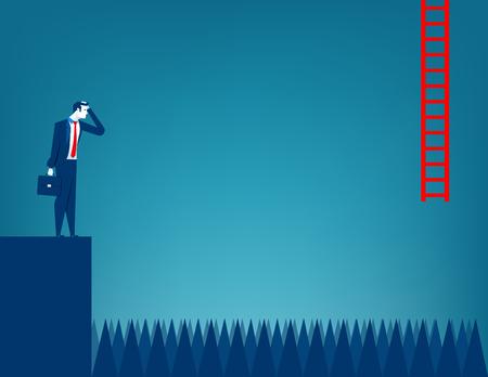 unable: Businessman unable to advance. Concept business illustration. Vector flat