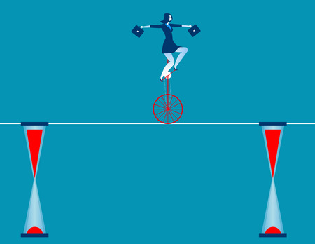 Businesswoman cycling on rope. Concept business illustration. Vector flat