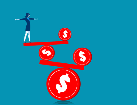 Businesswoman on the balance. Concept business illustration. Vector flat