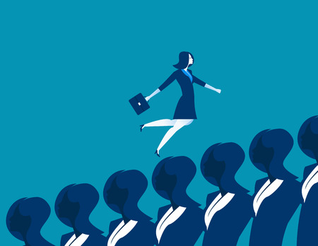 conformity: Business woman running up. Concept business illustration. Vector flat