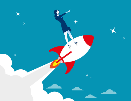 Start up. Businesswoman standing on rocket ship flying through starry sky. Concept business illustration. Vector flat