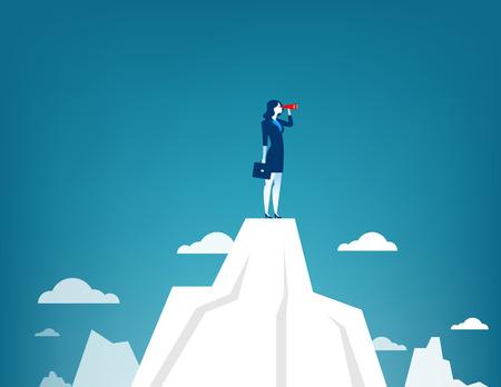 Femme d'affaires debout au sommet de la montagne en utilisant le télescope à la recherche de succès. Illustration de business concept. Vecteur plat Banque d'images - 72526357