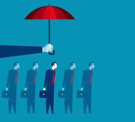 Hand holding umbrella above businessman. Concept business illustration. Vector flat Illustration