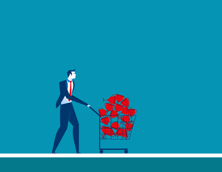 conquering adversity: Businesmen shopping trolley with trophy. Concept business illustration. Vector flat