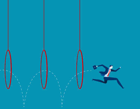 Business man jumping through hoops. Concept business illustration. Vector flat