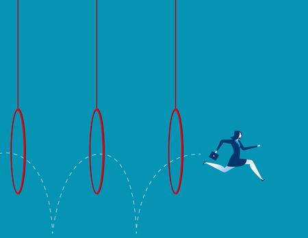 Bedrijfs vrouw springen door hoepels. Concept bedrijfs illustratie. Vector vlak Stock Illustratie