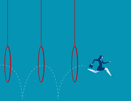Business woman jumping through hoops. Concept business illustration. Vector flat