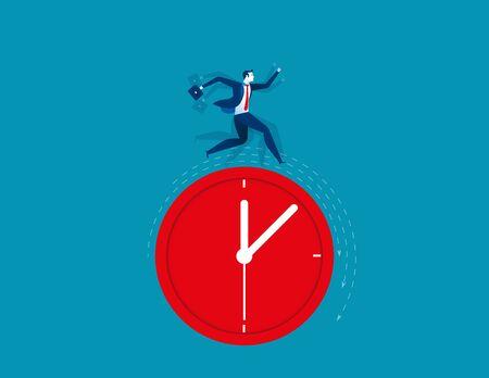 clack: Businessman running on clock representing deadline. Concept business illustration Illustration