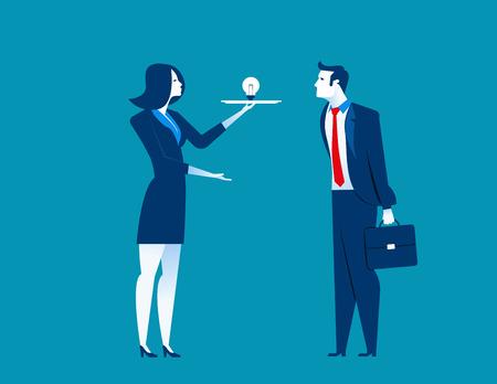 job satisfaction: Business woman presents ideas. Concept business illustration. Vecter