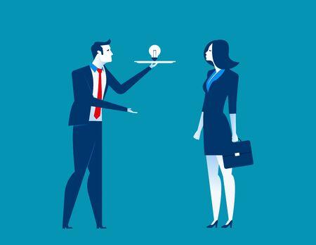 job satisfaction: Businessman presents ideas. Concept business illustration. Vecter