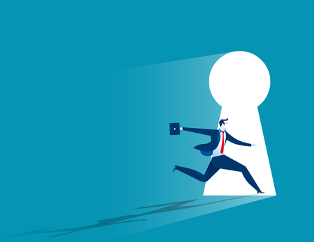 Businessman running to large keyhole. Concept business illustration